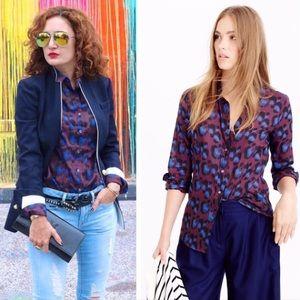 j. crew // cobalt leopard top button down shirt